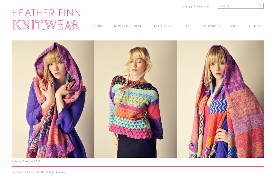 Screen grab of Heather Finn Knitwear's new homepage